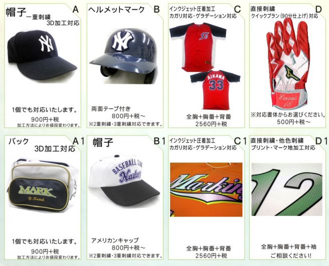 野球刺繍の加工イメージ